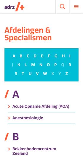 Specialisaties ADRZ website