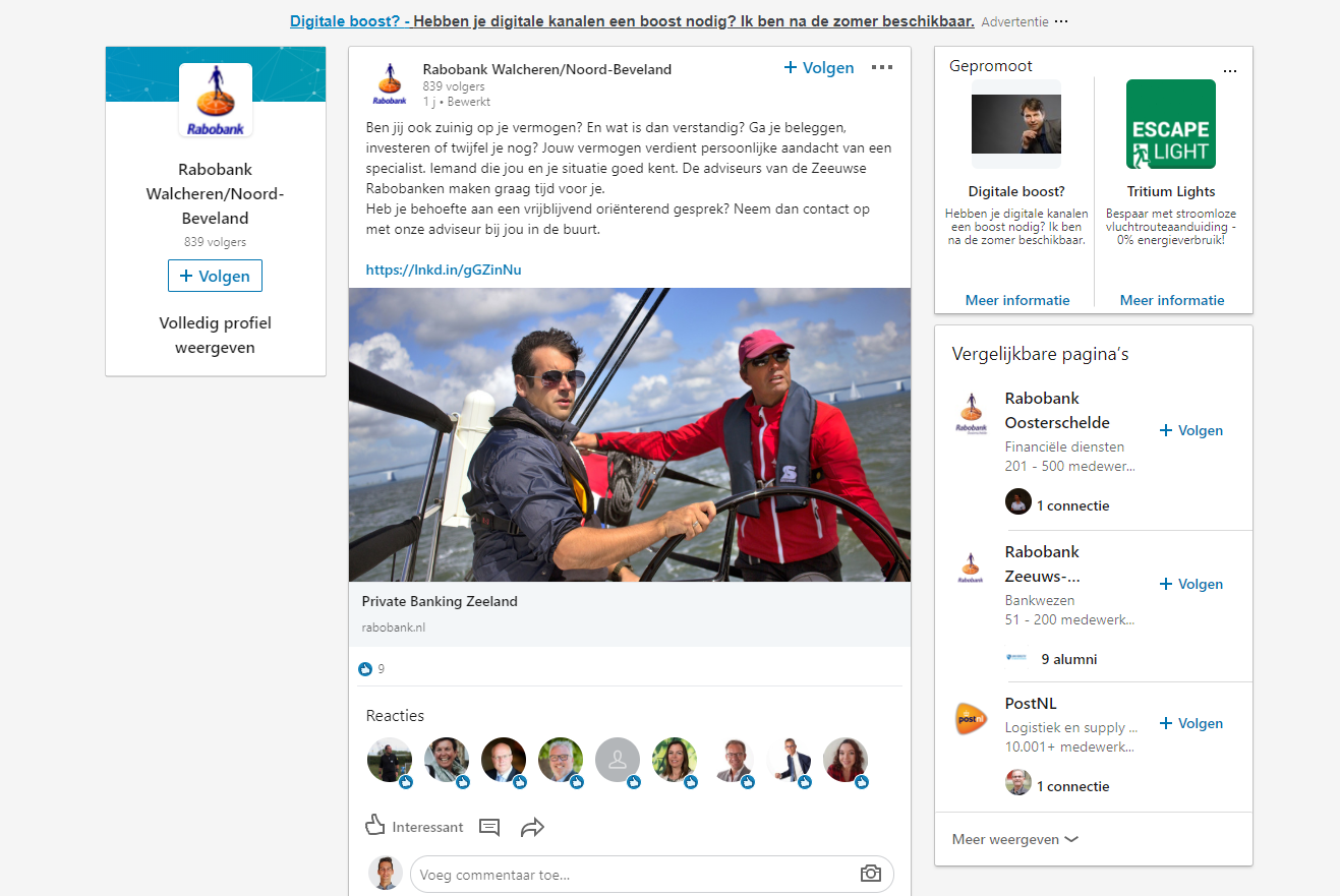 LinkedIn Rabobank efficient podium nedbase nieuws