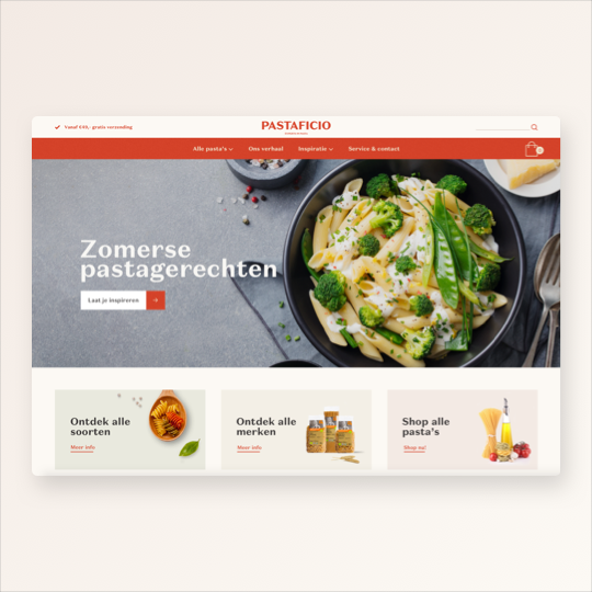 Portfolio Pastaficio website ontwikkeling online marketing applicaties app